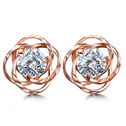 Lydreewam Rose Gold Stud Earrings for Women 925 Sterling Silver with 3A 6MM Round Cubic Zirconia