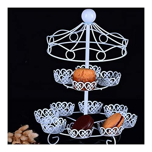 ZJZ Soporte de Metal para Cupcakes de 2 Niveles, Soporte para Cupcakes, 12 Cupcakes, Muffin, repostería, para Bodas, cumpleaños, té de la Tarde, Soporte de exhibición de postres Blanco