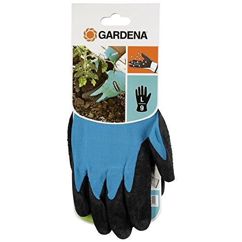Gardena Garten- und Bodenhandschuh: Gartenhandschuhe für grobe Garten- und Bodenarbeiten, Größe 9/L, atmungsaktiv, wasserresistent dank Latexbeschichtung, optimaler Grip und Schutz (207-20)