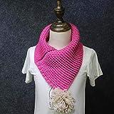 MARKOO Kinder Winter Wolle Kragen Schal Für Kinder Strickhalsband Mit Ball Kinderschals Halstuch Kleidung Accessoires 2018, Rose Red