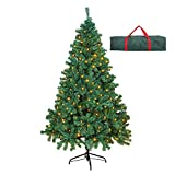 OUSFOT Prelit Christmas Tree 6ft w/ 400 LEDs 800 Tips 8 Lighting Modes Warm White Artificial Christmas Tree with Storage Bag Easy Assembly Foldable Metal Stand PVC Indoor Decorations