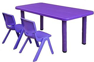ZH Table Rectangulaire pour Enfants Accueillir 6 Personnes, Long Bureau en Plastique Et Chaises Empilables pour Chambre d'...
