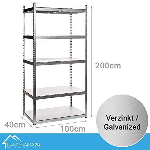 Panorama24 Lagerregal verzinkt belastbar bis 1000kg - Maße: 200 x 100 x 40 cm, Regal Kellerregal Steckregal Werkstattregal Schwerlastregal