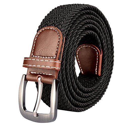 Drizzte Herrengürtel, Übergröße, 119,4 cm bis 190,5 cm, extralang, elastisch, geflochten, gewebt, Schwarz - Schwarz - 55/58W US