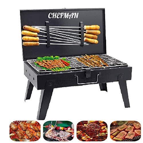 Chefman Briefcase Charcoal Barbeque Grill with Accessories 8 Skewers,1 Tong (Made in India) (Extra Large)