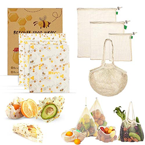 Reusable Beeswax Food Wrap-(3 pack with French Market Bag)