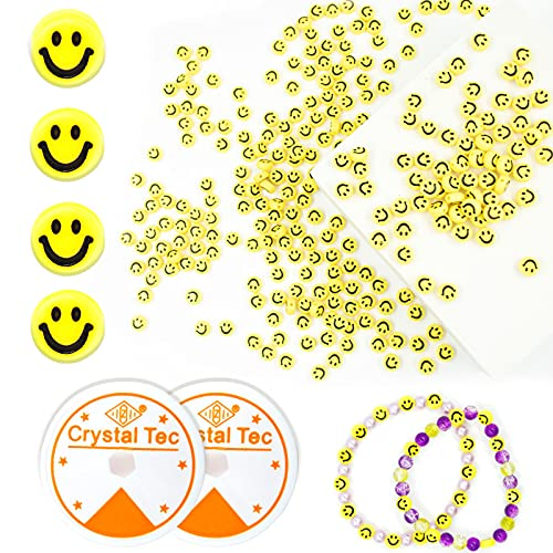 500 Pcs Yellow Smiley Face Beads with 2 Roll 0.8mm Elastic String, 7MM Acrylic Happy Face Loose Spacer Beads for DIY Jewelry Bracelet Earring Necklace Craft Making Supplies (Yellow Background)