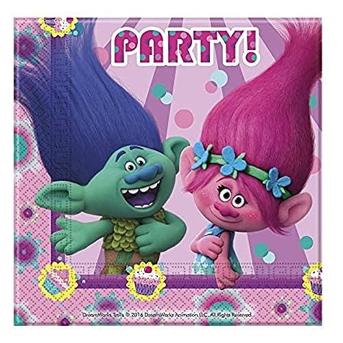 Folat B.V.-87016 Trolls Servilletas, pack 20 unidades, color rosa (Amscan 49795)
