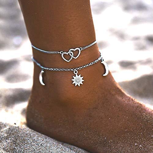 Ushiny Tobillera con capas estilo bohemio, diseño de estrellas para la playa, con forma de media luna y pie, accesorios para mujeres y niñas (plata)