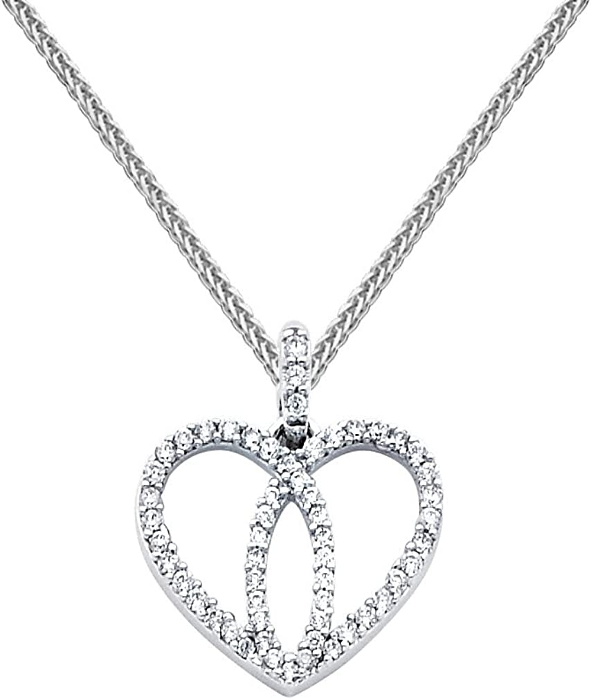 14k White Gold Love Heart CZ Pendant with 0.8mm Braided Square Wheat Chain Necklace