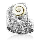 planetys - anello occhio di santa lucia shiva argento sterling 925 finitura martellata - dimensione regolabile