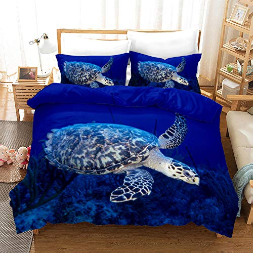 Funda Nordica Cama 135 De Microfibra, Funda De Edredón 220 X 230 Cm con Cremallera Mantiene Fresco En Verano Tortuga Azul Hipoalergénico