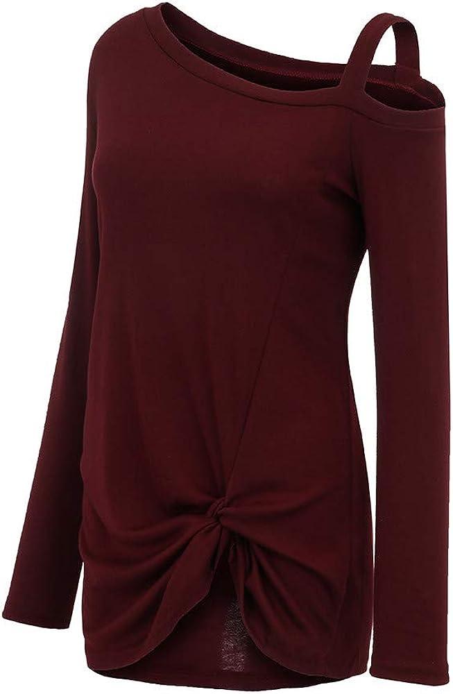 iHENGH Damen Frühling Sommer Top Bluse Bequem Lässig Mode Frauen Womens Casual Weiche Lange Ärmel O Hals Knot Side Twist Bluse Top T-Shirt Wein