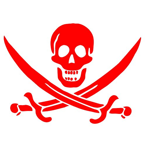 Auto Vynamics - PPFS-JR07-20-GRED - Gloss Red Vinyl 'Jolly Roger' Pirate Flag Symbol Decal - John 'Calico Jack' Rackham (Rackam / Rackum) Skull & Crossed Swords Design - Single Decal - (1) Piece Kit - 20-by-14.625-inches