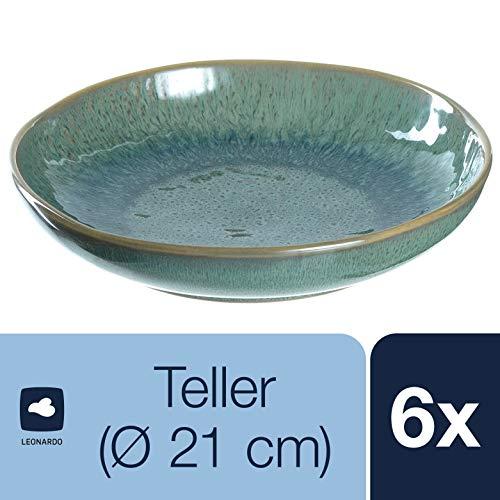 Leonardo Teller Matera 6-er Set, 20,7 cm, 6 tiefe Keramik Teller, spülmaschinengeeignet, mit Glasur, grün, 018541