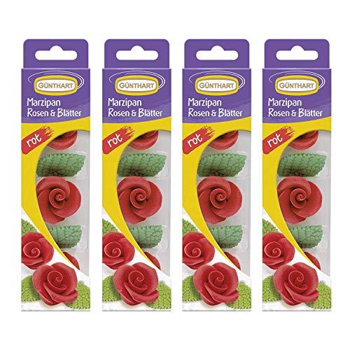 Günthart Marzipan-Rosen rot mit Blättern, 4er Pack (4 x 33 g)