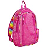 Eastsport Active Mesh Backpack with Padded Adjustable Straps, English Rose Pink/Rainbow Straps and Trim