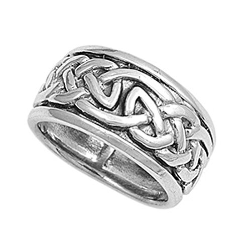 Sterling Silver Women's Men's Heavy Celtic Ring Pure 925 Band 10mm Size 13