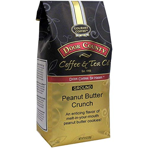 Door County Coffee, Peanut Butter Crunch, Peanut Butter Flavored Coffee, Medium Roast, Ground Coffee, 10 oz Bag