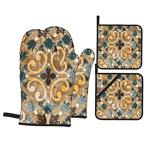 Guanti da forno e presine,set di 4,mattonelle blu geometrico vintage italiano modello marocchino piastrellato vecchio astratto in ceramica,guanti da barbecue in poliestere con fodera trapuntata e