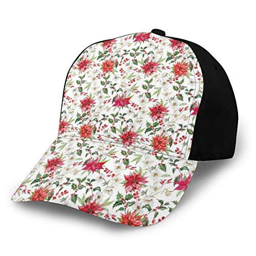 Hip Hop Sun Hat Baseball Cap,Fresh Poinsettia Flowers and Rowan Berry Branches Christmas Garden,for Men&Women