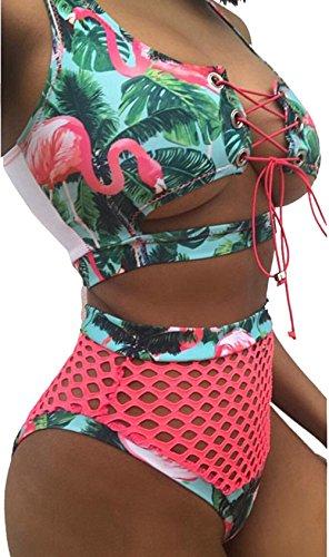 tengweng Women African Print Two Piece Lace Up Bikini High Waist Mesh Cutout Thong Swimsuit S AQP2