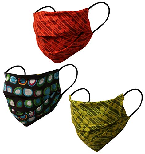 Touchstone Fashion Print Filter Pocket Nose Bridge Double Layer Cotton Face Mask Reusable Machine Washable for Men, Women (Pack of 3). Green Orange Blue