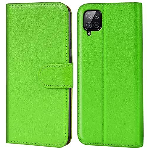 Verco Handyhülle für Samsung Galaxy A12 Hülle, Samsung M12 Bookcase Tasche Flipcover für Samsung A12 Hülle [Kartenfächer/Aufstellfunktion], Grün