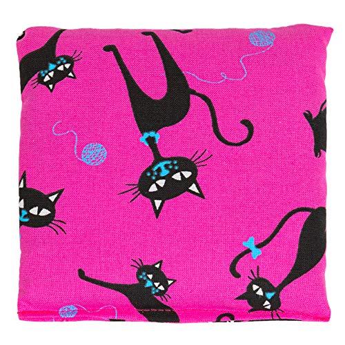 Cojín de semillas 12x12cm. Gato negro fondo fucsia. Saco térmico con pepitas de uva. Pequeña almohada térmica utilizable frío o caliente.