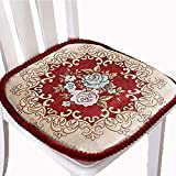 Embroidery Chair Pad, Dining Chair Cushion Non Slip Seat Cushion Garden Patio Home Kitchen Office (red 1, 4 Pack)