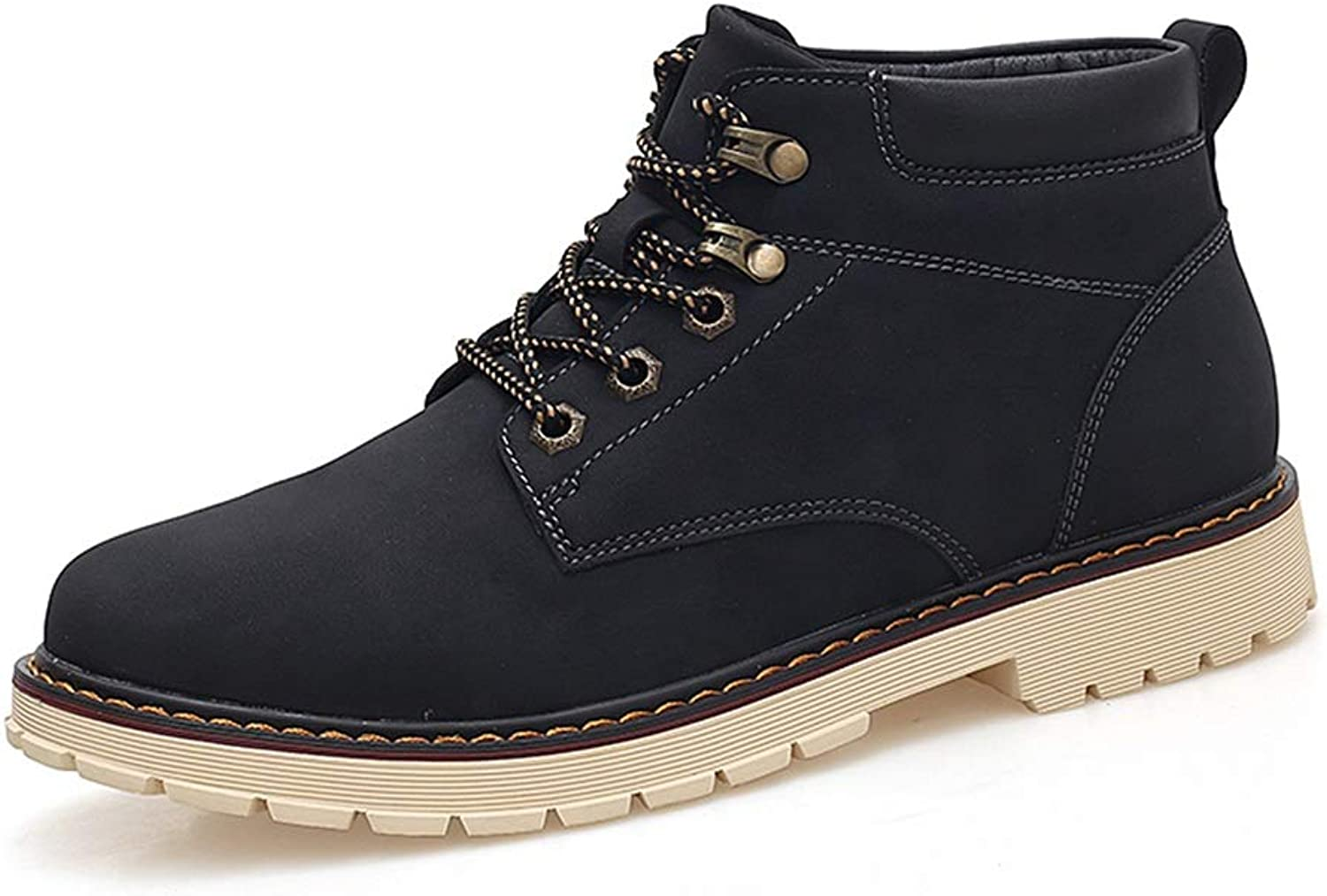 BND-SHOES,Men's Ankle Boots Casual Fashion High Top Round Toe Tie with Rubber Outsole Lace up Work shoes Durable,Stand Wear and Tear (color   Black, Size   9 D(M) US)