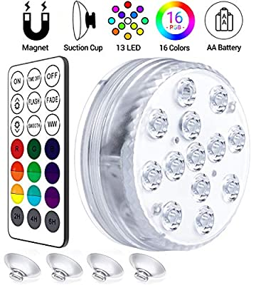 LOFTEK Submersible LED Lights Remote Control (RF), Suction Cups, Magnets, Color Changing Waterproof LED Light Battery Operated Bathtub Lights for Hot Tub, Pool, Pond,Foundation,Party, Even