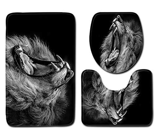 Dier Leeuw Badmatten 3-Delige Badmatten Tapijt Set Antislip Zwart Contourmat Toiletbril Cover Mat Badkameraccessoires