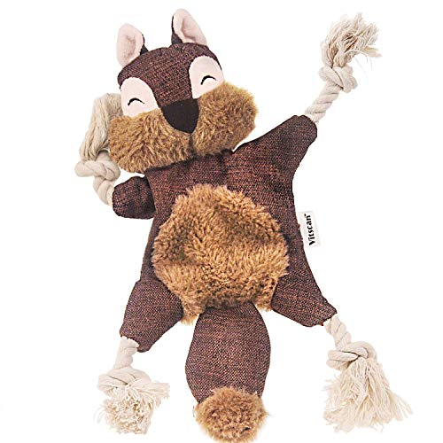 Durable Dog Toys for Aggressive Chewer Squeak, Indestructible Dog Toys Tough Dog Squeaky Toys No Stuffing Crinkle Dog Toy, Rope Knots Puppy Chew Toys Sturdy Squirrel Dog Toy Interactive (Squirrel)