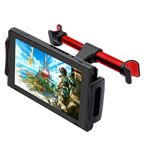 FYOUNG Car Headrest Mount for Nintendo Switch, Adjustable Car Holder for Nintendo Switch/iPhone/IPA and Other Devices (4'-11') - Red