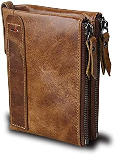 Leather Men Wallets Credit Business Card Holders Double Zipper Cowhide Leather Wallet Purse