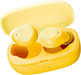 Wireless Earbuds, Wireless Headphones Bluetooth 5.0, 6D Stereo Sound, Clear Binaural Call, 24H Playtime Charging Case, Noise Cancelling Mini TWS Earbuds, Sweatproof for iPhone & Android Sport (Yellow)