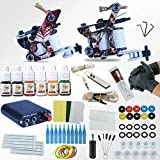 Tattoo Complete Kit 2 Tattoo Gun Kits for Lining and Shading With Power Supply Grips Ink Tips for Professional...