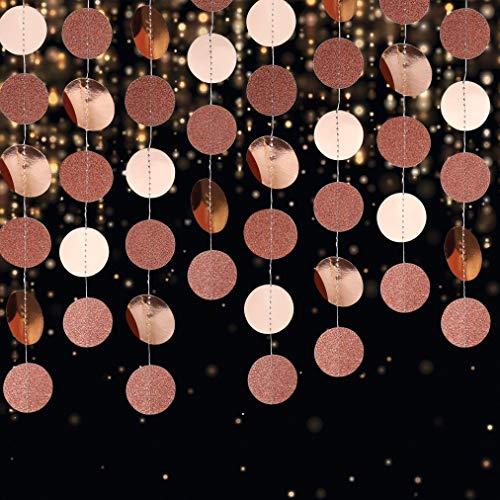 Papier Girlande Glitzer Runde Kreis Banner, 4 Stücke Hängende Party Dekorationen für Geburtstag Baby Dusche Hochzeit Weihnachten (Roségold)