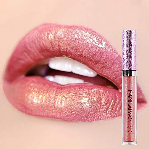 DONGXIUB Metallic Diamond Liquid Glitter Shimmer Lipstick Nonstick Cup Makeup Lip Gloss (B)