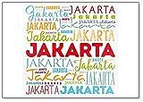 Imán para nevera clásico de Jakarta Word Cloud, ilustración de viaje
