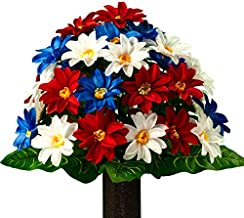 Sympathy Silks Artificial Cemetery Flowers - Realistic - Outdoor Grave Decorations - Non-Bleed Colors, and Easy Fit - Red White & Blue Dahlia Bouquet