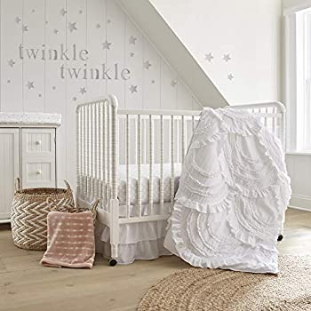 Levtex Baby - Skylar Crib Bed Set - Baby Nursery Set - White - Soft Cascading Ruffles - 4 Piece Set Includes Quilt Fitted Sheet Wall Decal & Crib Skirt/Dust Ruffle