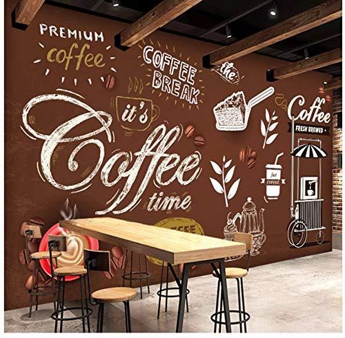 Cczxfcc klantgebonden grootte brood koffie tijd handgeschilderde poster bruin achtergrond muurschildering 3D Mural voor cafe winkel restaurant decor 250 cm x 175 cm.