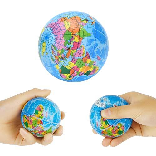 Koogel 2.5 inch Globe Squeeze Stress Balls,24pcs Earth Ball World Stress Balls Stress Relief Toys Therapeutic Educational Balls Bulk