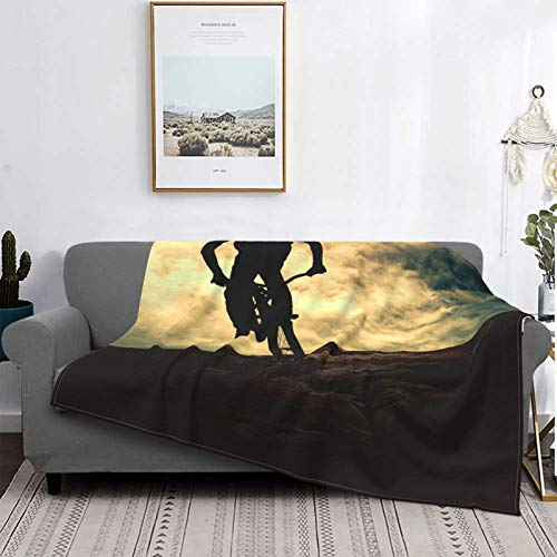 Throw Blanket Lightweight Ultra-Soft Fleece Warm,Sport Of Man On Muontain Bike Sunset Adventure Mountain Bicycle,Microfiber All Season Living Room/Bedroom/Sofa Couch Bed Flannel Quilt,50' X 40'