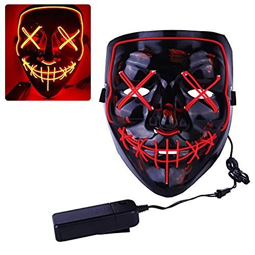 Mascara de la Purga, ZoneYan LED Máscaras Halloween, Craneo Esqueleto Mascaras, Mascara LED Disfraz, la Mascara de la Luz, Máscara Halloween, Cosplay, Carnaval, Grimace Festival Fiesta Show (Rojo)