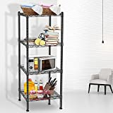 Wire Shelving, 4 Tier Storage Shelves, Adjustable Height Metal Shelve, with Leveling Feet, Chrome Kitchen Shelves Unit, for Kitchen, Living Room, Bathroom Garage Storage, 16.5' L x 11.4' W x 49.2' H