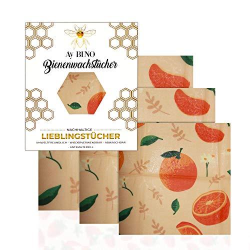 AY BINO Bienenwachstücher 3er Pack Lieblingstücher Umweltfreundlich Ökologisch Nachhaltig Wiederverwendbare Beeswax Wraps |Zero WasteWachspapier für Lebensmittel Bio (Orange, 3)