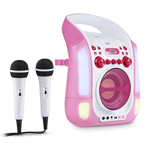 auna Kara Illumina karaokeset karaokespeler (2 x microfoon, cd + g-speler, bovenlader, mp3-compatibele usb-poort, echo-effect, AVC-functie, led-lichtshow) roze-wit